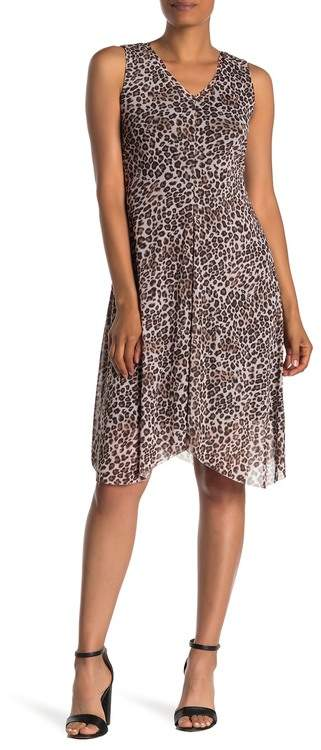 T Tahari Leopard Print Sleeveless Midi Dress