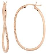 "Tiara Rose Gold Over Silver Diamond Cut ""x"" Curved Hoop Earrings"