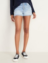 Old Navy Distressed Button-Fly Boyfriend Jean Shorts for Women - 3-inch inseam