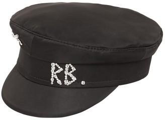 Ruslan Baginskiy SATIN BAKER BOY HAT W/CRYSTALS