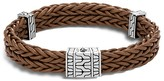 John Hardy Sterling Silver Classic Chain Heritage Double Braided Bracelet with Brown Leather