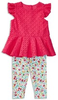 Ralph Lauren Girls' Eyelet Top & Floral Leggings Set - Baby