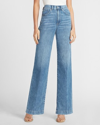 Express High Waisted Lightweight Wide Leg Jeans