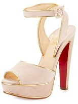 Christian Louboutin Louloudance Suede Platform Red Sole Sandal, Pink/Gold