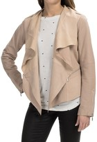 Bernardo Drape Front Suede and Leather Jacket (For Women)