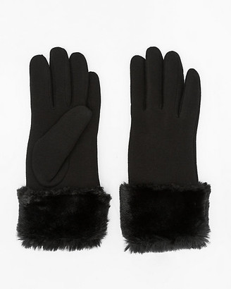 Le Château Faux Fur Knit Touchscreen Gloves