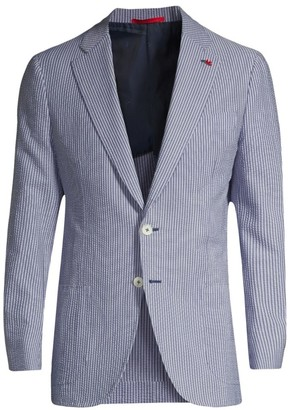 Isaia Stripe Seersucker Single-Breasted Jacket