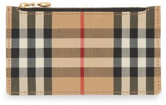 Burberry Somerset Vintage Check Leather Zip Card Case