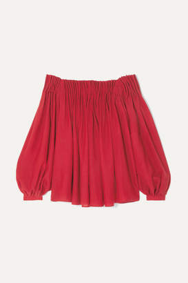 Gabriela Hearst Otalora Off-the-shoulder Pleated Wool And Cashmere-blend Top - Red