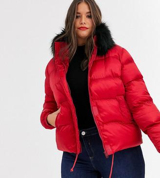Koko short padded coat with faux fur trim