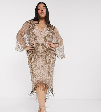 ASOS DESIGN Curve kimono midi dress with delicate beaded embellishment
