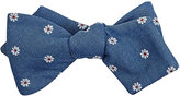 Thomas Mason Men's Flower-Embroidered Duke Bow Tie-BLUE