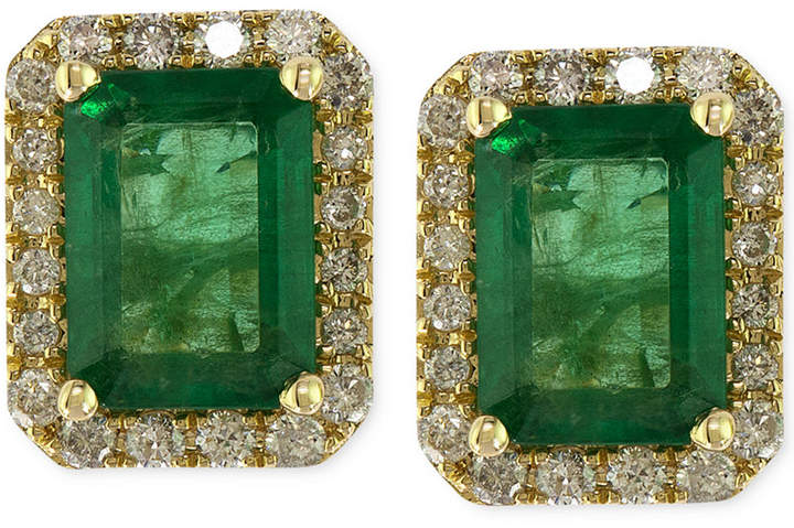 Effy Brasilica by Emerald (1-9/10 ct. t.w.) and Diamond (1/4 ct. t.w.) Stud Earrings in 14k Gold, Created for Macy's