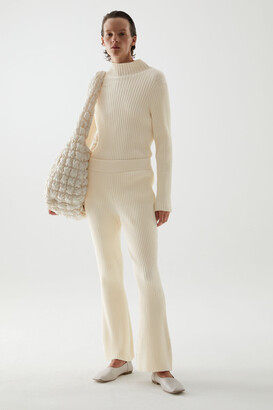 Cos Organic Cotton Knitted Flared Ribbed Trousers
