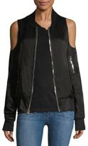 RtA Jester Cold Shoulder Silk Bomber Jacket