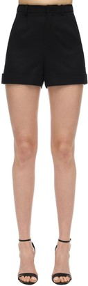 Saint Laurent High Waist Wool Twill Shorts