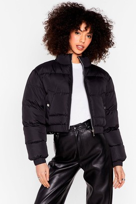 Nasty Gal Womens Cover Your Back Cropped Padded Jacket - Black