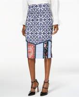 ECI Mixed-Print Midi Pencil Skirt