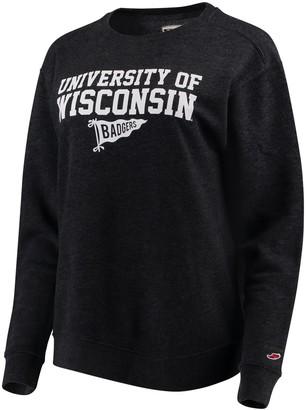Women's League Heathered Black Wisconsin Badgers Victory Springs Tri-Blend Boyfriend Pullover Sweatshirt