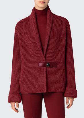 Akris Chunky Shawl-Collar Cardigan with Leather Closure