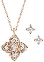 Charter Club Rose Gold-Tone Pavé Star Pendant Necklace and Stud Earrings Set, Only at Macy's