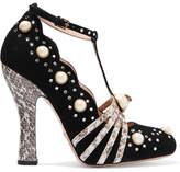 Gucci Embellished Elaphe-trimmed Suede Pumps - Black