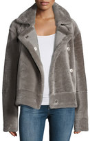 Tibi Shearling Snap-Front Aviator Jacket