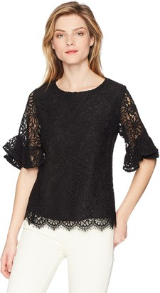Nanette Lepore Women's Lace Bell Sleeve Top