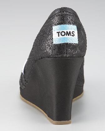Toms Glittered Peep-Toe Wedge