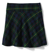 Lands' End Girls Plaid Side Button Skirt Top of Knee-Hunter/Classic Navy Plaid