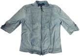 Plein Sud Jeans Blue Leather Jacket for Women