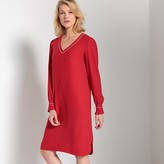 Anne Weyburn Long-Sleeved Straight Midi Dress