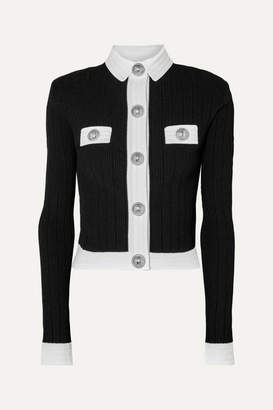 Balmain Button-embellished Two-tone Ribbed-knit Cardigan - Black