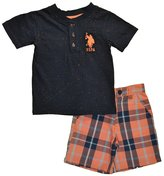 U.S. Polo Assn. Little Boys Navy Spotted Top 2pc Plaid Short Set