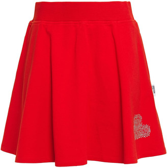 Love Moschino Crystal-embellished French Cotton-blend Terry Mini Skirt