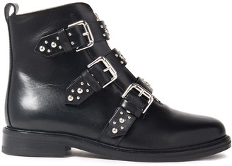 Maje Studded Leather Ankle Boots