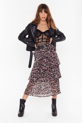 Nasty Gal Womens Tiers to Us Floral Midi Skirt - Black - 6