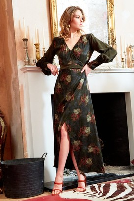 Sarvin Verdant - V-Neck Jacquard Wrap Maxi Dress With side split