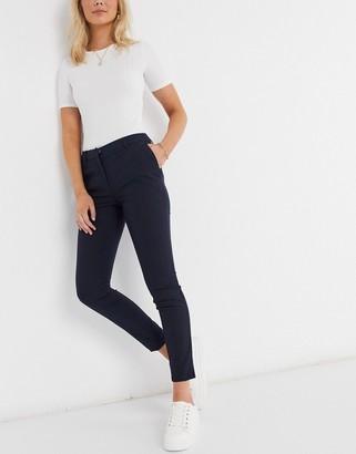 Selected cropped slim pants in dark blue