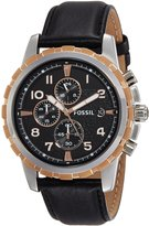 Fossil Men's Leather Strap Analog Dial Chronograph Watch FS4545