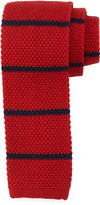 Neiman Marcus Thin-Stripe Wool Tie, Red/Navy