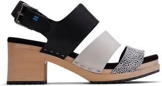 Toms Black Vegetable Tanned Mini Leopard Print Women's Phoebe Clog Sandals