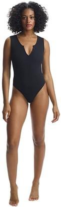 Commando Luxury Rib Henley Bodysuit RIB401 (Black) Women's Jumpsuit & Rompers One Piece