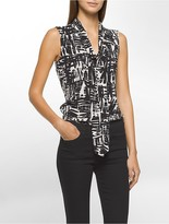 Calvin Klein Tribal Tie-Neck Sleeveless Top