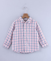 Beebay Boys' Button Down Shirts Multi-col - Red & Blue Plaid Button-Up - Newborn & Infant