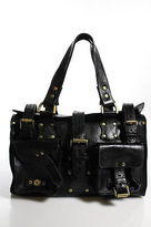 Mulberry Black Leather Gold Tone Studded Roxanne Tote Shoulder Handbag