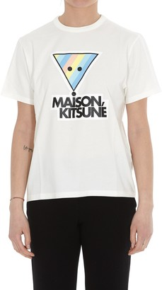 MAISON KITSUNÉ Rainbow Triangle Fox Print T-Shirt