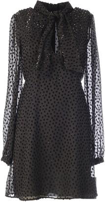 Saint Laurent Embellished Sheer Sleeves Mini Dress