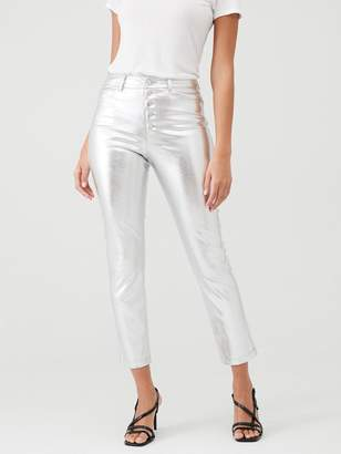 Very Silver Faux Leather Trouser - Silver