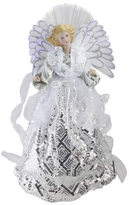 "Northlight 16"" Lighted Fiber Optic Angel in White and Silver Sequined Gown Christmas Tree Topper"